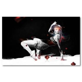 Αφίσα (γυναίκα, τέχνη, χορός, ψηφιακό, φαντασία, μαύρο, λευκό, άσπρο)